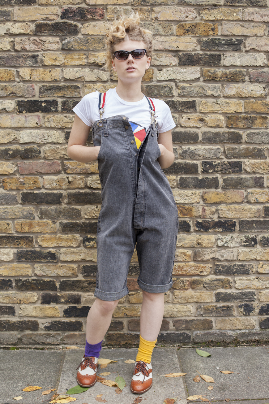 Hipster Tata-Naka dungarees with braces, £79, worn with Oliver Peoples glasses, Luella Tshirt and Charles Jourdan correspondent shoes (1)