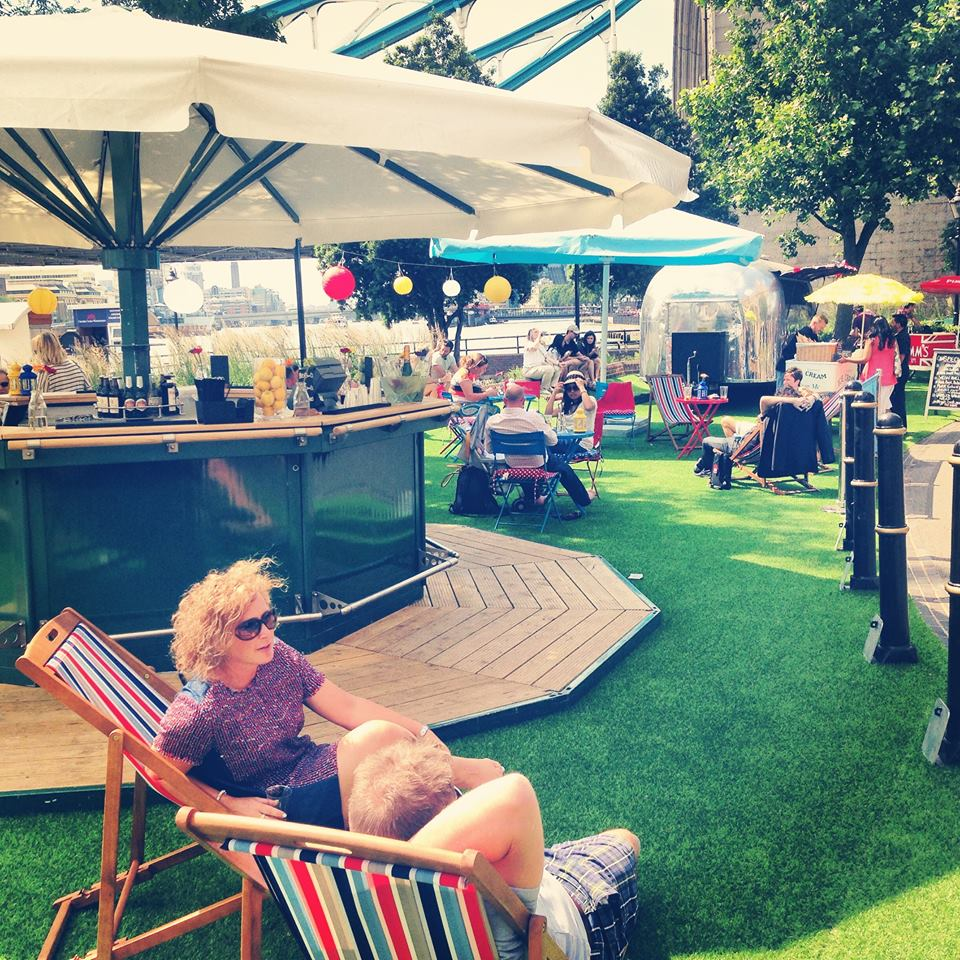 The Living Room Bar Restaurant St Katherines Dock: THE LAWN AT TOWER BRIDGE
