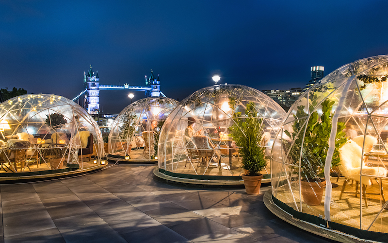 Igloos at coppa club london on the inside