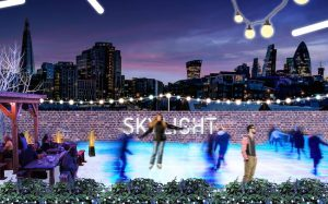 rooftop ice skating at skylight