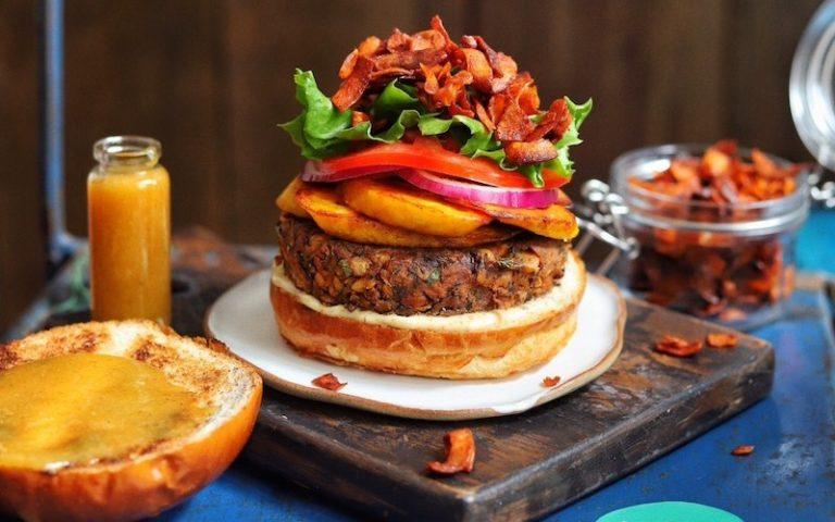 The Vurger Co collaboration burger with Gaz Oakley aka Avant Garde Vegan