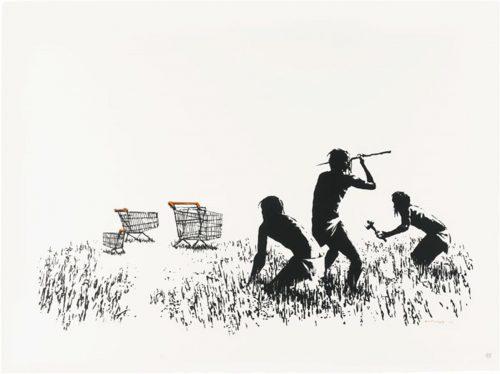 banksy-trolleys-bw-signed