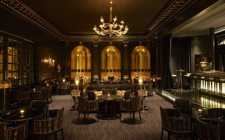 A elegant bar with chandelier