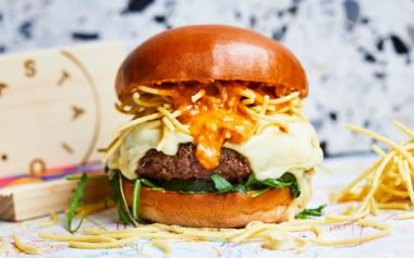 A BURGER WITH DEEP FRIED SPAGHETTI HAS LANDED